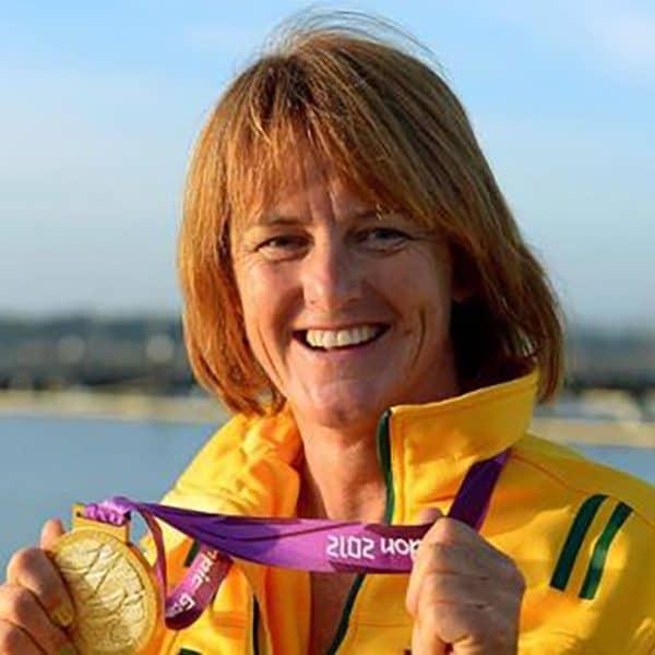 Liesl Tesch Olympian showing Gold Medal