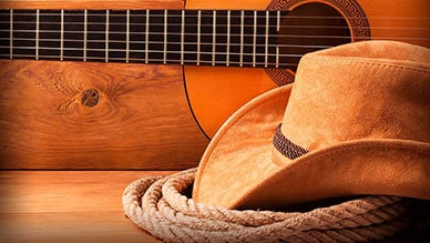 Cowboy Hat Guitar and Rope